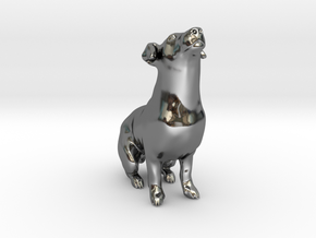 Howling Jack Russell Terrier in Fine Detail Polished Silver
