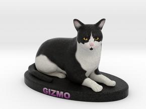 Custom Cat Figurine - Gizmo in Full Color Sandstone