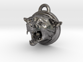 Wolf Pendant Wolf in Polished Nickel Steel