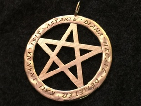 Pentacle pendant - Goddess chant in Natural Brass