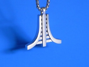 Retro Game Pendant in Rhodium Plated Brass