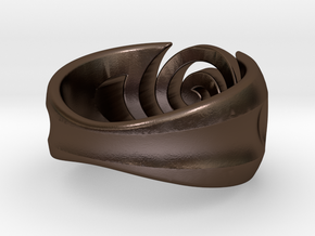 Spiral ring - Size 5 in Polished Bronze Steel
