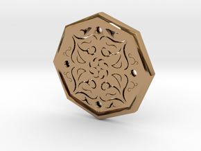 Octagon Rune Amulet in Polished Brass