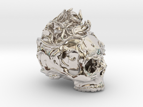 Skull01 Ornamental01 in Rhodium Plated Brass