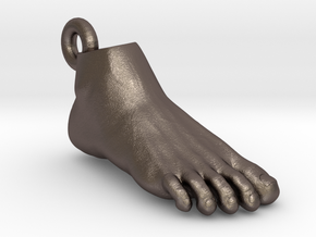 Foot Pendant in Polished Bronzed Silver Steel