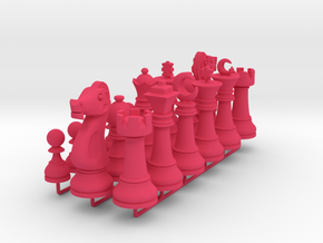 Set Chess Basic Big / Timur Chess Pieces in Pink Processed Versatile Plastic