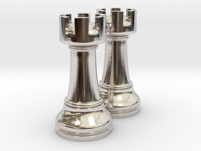 Pair Rook Chess Big Solid | TImur Rukh in Rhodium Plated Brass