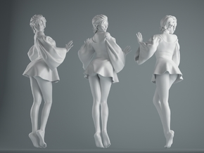 Skirt Girl-002 scale 1/10 in White Strong & Flexible Polished