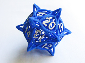 'Center Arc' dice, D20 Spindown Life Counter LARGE in Blue Processed Versatile Plastic