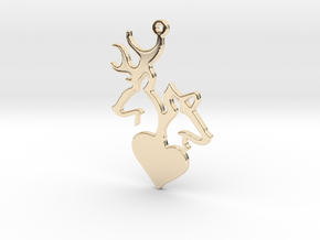 Deer and Doe pendant in 14k Gold Plated Brass