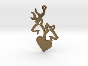 Deer and Doe pendant in Polished Bronze
