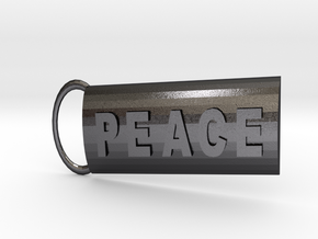 Peace Keyring in Polished and Bronzed Black Steel
