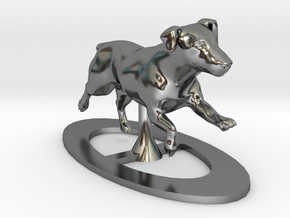 Running Jack Russell 1 in Fine Detail Polished Silver