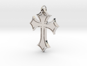 Christian Cross Pendant in Rhodium Plated Brass