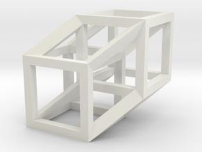 4D Hypercube Model in White Natural Versatile Plastic