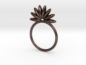 Demi Flower Ring in Polished Bronze Steel