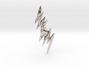 Hand of God - Zeus Thunderbolt Pendant in Rhodium Plated Brass