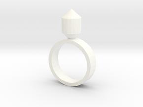 Single Gem Ring in White Processed Versatile Plastic
