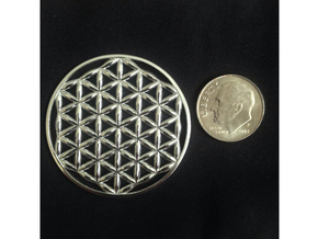 Flower Of Life (no bale)  in Polished Silver