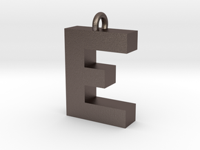 Alphabet (E) in Polished Bronzed Silver Steel
