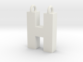 Alphabet (H) in White Natural Versatile Plastic
