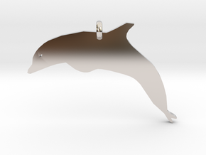 Dolphin Necklace Piece in Rhodium Plated Brass