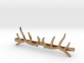 Elk Antler Tie Clip Double in Polished Brass