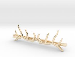 Elk Antler Tie Clip Double in 14k Gold Plated Brass