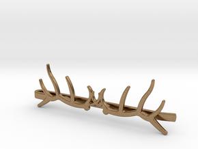 Elk Antler Tie Clip Double in Natural Brass