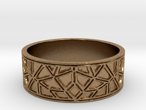 Moorish Geometric Lattice Ring in Natural Brass
