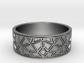 Moorish Geometric Lattice Ring in Natural Silver