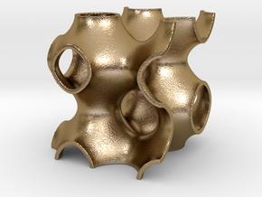 0165 F(x,y,z)=0 [Cos(x)+Cos(y)+Cos(z)] #001 in Polished Gold Steel