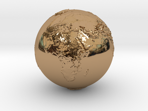 Earth Relief in Polished Brass