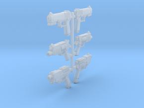 1/18 Scifi Pistols (6) in Smooth Fine Detail Plastic
