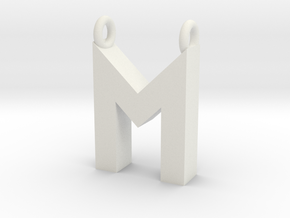 Alphabet (M) in White Natural Versatile Plastic