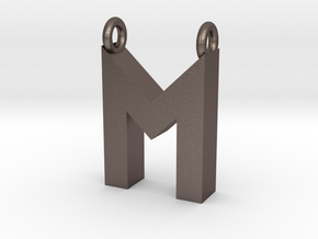 Alphabet (M) in Polished Bronzed Silver Steel