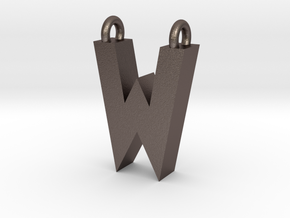 Alphabet (W) in Polished Bronzed Silver Steel