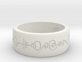 """Live Long & Prosper"" Ring - Engraved Style in White Natural Versatile Plastic: 8 / 56.75"