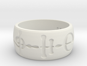"""Kaiidth"" Vulcan Script Ring - Engraved Style in White Natural Versatile Plastic: 7 / 54"