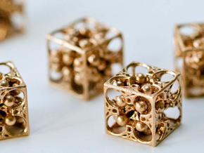 GOD's DICE - Pendant / Earring / Dice - 14mm in Natural Bronze