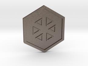 Glacier Badge - Johto Pokemon Bagdes in Polished Bronzed Silver Steel