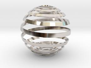 Loxodrome ornament in Rhodium Plated Brass