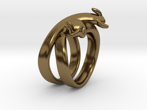Stretch Rabbit Ring in Polished Bronze: 4 / 46.5