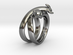Stretch Rabbit Ring in Polished Silver: 5 / 49