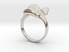 French Bulldog Ring Solid Size 6 in Rhodium Plated