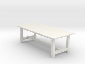 8' Rustic Farm Table 1:48 in White Strong & Flexible