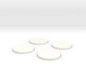 25mm Bases x4 in White Strong & Flexible Polished