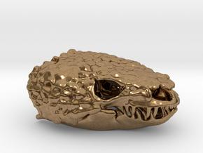 Gila Monster Skull Pendant -  30mm in Natural Brass