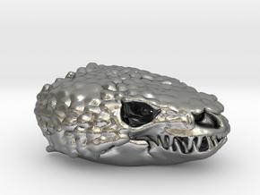 Gila Monster Skull Pendant -  30mm in Natural Silver