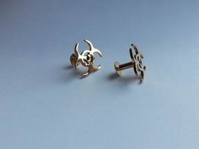 BIOHAZARD Cufflinks in Polished Bronze